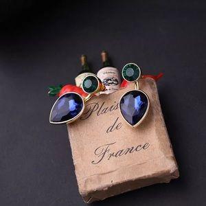 Betsey Johnson cute earrings w green/ blue crystal